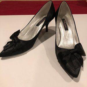 NINA black satin heels/pumps with bow